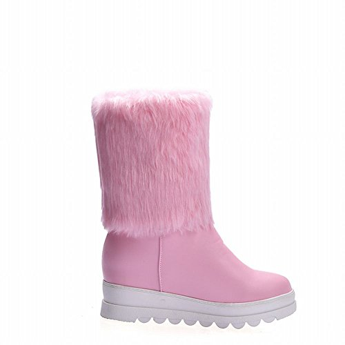 Wedges Ankle Faux Heel Low Womens Pink Show Shine Boots Fur Heel nxY0Px8qU