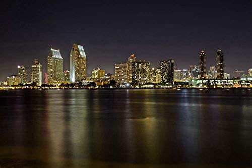 (san Diego Night Lights) Home Decor Poster Art Print Canvas Posters W20xL13 inch
