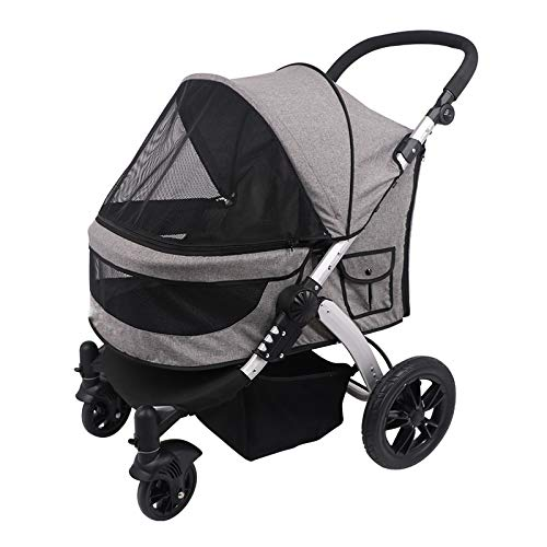 Pet Stroller for Cats/Dogs, Spacious Easy Fold with Removable Liner with Suspension Brake,Gray