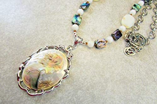 Mother of Pearl Cameo Pendant with MOP and Abalone Beads Necklace and Earrings ()