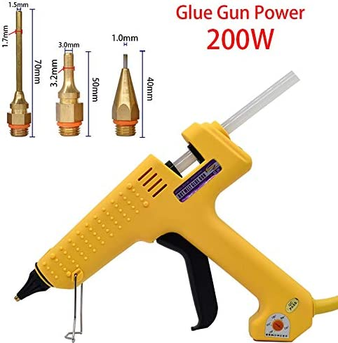 11ミリメートルのスティックのり付きハイパワー工業用グレードホットグルーガン200W 1.5 * 70ミリメートル6.0 * 45ミリメートルの銅ノズル3枚可変温度 (色 : CP 4, Plug Type : US)