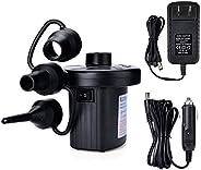 Electric Air Pump, OWNUZZ Portable Quick-Fill Air Pump with 3 Nozzles, 110V AC/12V DC, Perfect Inflator/Deflat