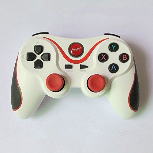 BESTAR Frosted Classic Black&White Wireless Gamepad Bluetooth Game Controller Joystick for Android ISO(White+red)
