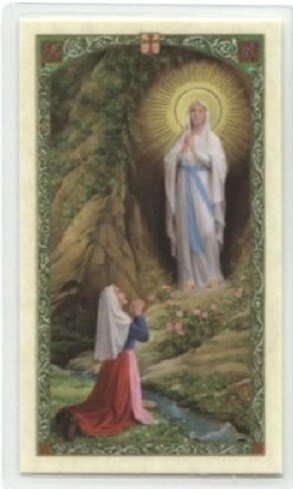(Blessed By His Holiness Pope Francis Our Lady of Lourdes Laminated Holy Card )