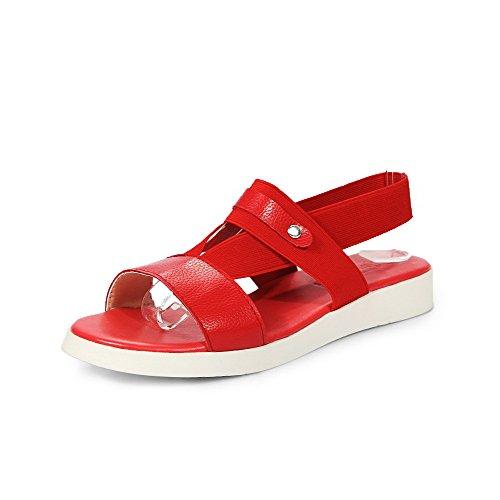 AllhqFashion Mujeres Sólido Cordón elástico Puntera Descubierta Sandalias de vestir Rojo