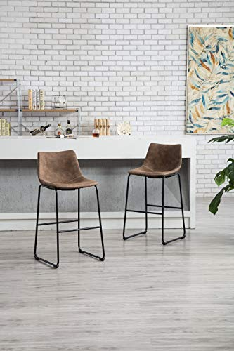 - ODRCHR Vintage PU Leather Counter Height Stools Set of 2 (Brown)