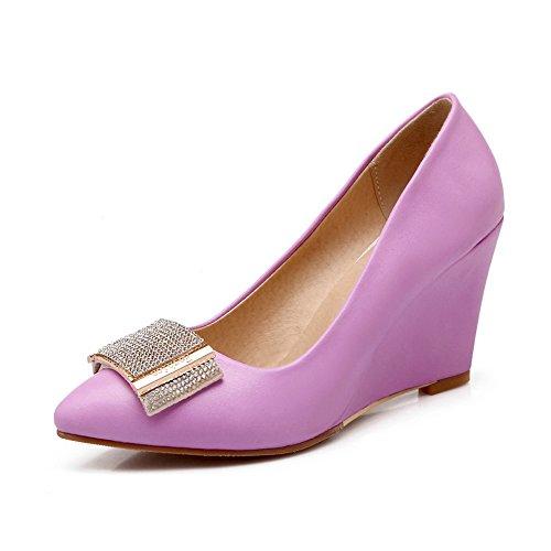Leather Thick Glass Pumps Bottom BalaMasa Girls Patent Matching Purple Heel Color Diamond Shoes zqtTOxw4