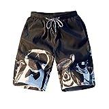 NUWFOR Fashion Men Casual 3D Star Printed Beach Casual Men Short Trouser Shorts Pants(Black,US M Waist:33.86'')