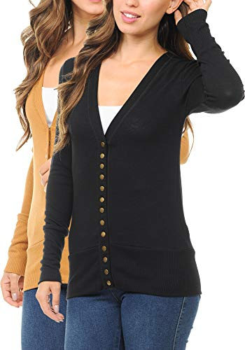(ClothingAve. Women's Snap Button 3/4 Or Long Sleeve Sweater Cardigan with Ribbed Detail Collection (S-3X) )