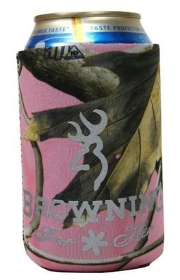 Browning Realtree Womens Pink Buckmark Can Koozie - Browning Ice Black