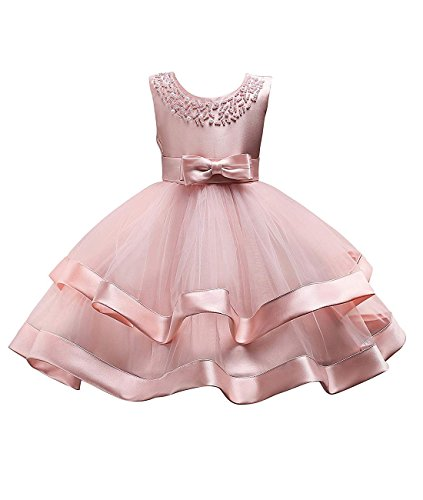 Sleeveless Knee Elegant Floral Girl Wedding Party Dresses Kids Formal Evening Princess Multi Lays Tulle Ball Gowns Toddler Dresses for Girls Summer Sundress Clothes Size 2T-3T Years (Pink, -