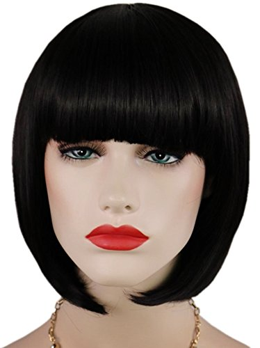 Black Bob Wigs and A Wig Cap, Short Straight Flat Bangs, Sexy Stylish Cosplay Party Hair Wigs, wig003BK]()