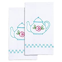 "Jack Dempsey Stamped White Decorative Hand Towel Pair, 17"" by 28"", Teapot"