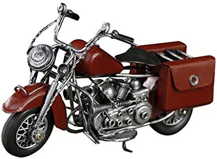 鉄のオートバイモデル産業スタイルの家の装飾は、レトロな古い装飾品、写真の小道具を表示します (Color : Red, Size : 24*12*9cm)