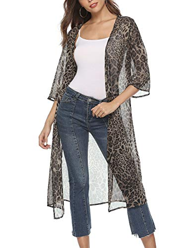Womens Travel Outdoor Sunproof Bikini Cover Up Vintage Colored Large Floral Printed Pullover Kimono Tops Semi-sheer Side Split C Blouses & Shirts