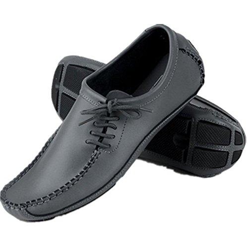 TOOGOO(R) Beilaeufige Schuhe der Maenner Leder Fahrschuhe Erbsenschuhe Schuhe schwarz 39 Grau