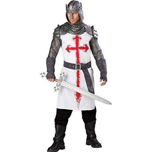 InCharacter Costumes, LLC Men's Crusader Costume, White/Gray, X-Large - Templar Knight Costume