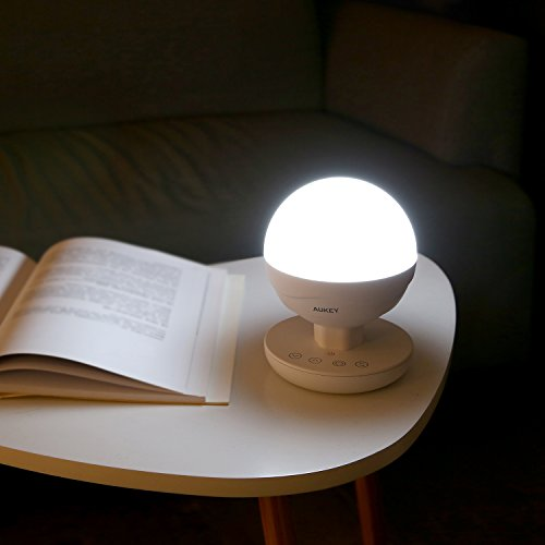 AUKEY Rechargeable Table Lamp, Dimmable RGB Color LED