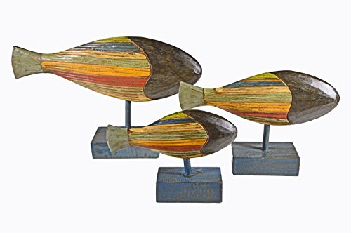 Beautiful Unique Nautical Set of 3 Fish Contemporary Wood Sculpture Carving Art Nautical Sculpture