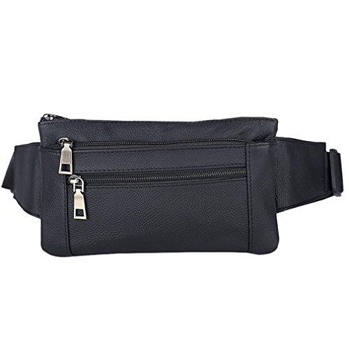 AoMagic Genuine Leather Waist Pouch Hip Belt Bags Men & Women Slim Fanny Pack Purse Black