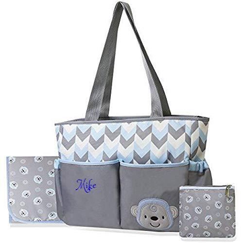 Personalized Large Diaper Bag Knapsack/Tote Bag/Backpack/Messenger Bag/Shoulder Bag -Custom Monogram Embroidered for Infant/Baby Bag/Baby Gift (Chevron Monkey)