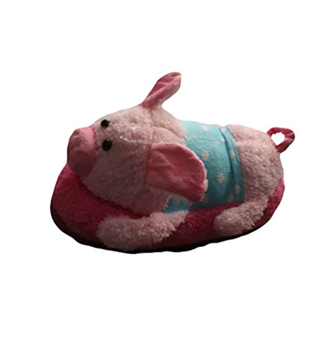 YOUJIA Adults Warm Novelty Plush Furry Bedroom Slippers 3D Cute Animal Indoor Shoes, UK(3-5) Pig