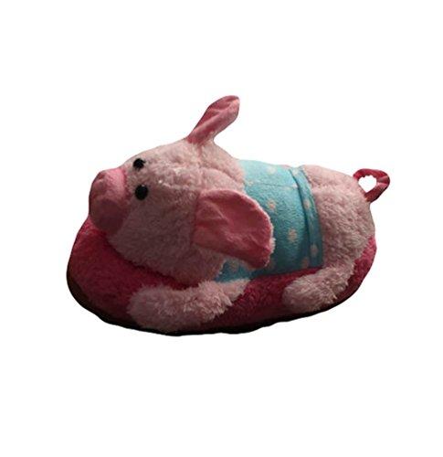 YOUJIA Unisex Adulto Invierno Zapatillas de Estar por Casa, Hogar Pantuflas Divertidas de Peluche con 3D Animales - Tamaño: 34-38 Cerdo