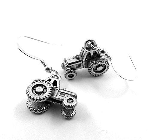 Silver Tone Pewter Farm Tractor Dangle Earrings