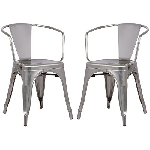 Poly and Bark Trattoria Arm Chair in Polished Gunmetal (Set of 2)
