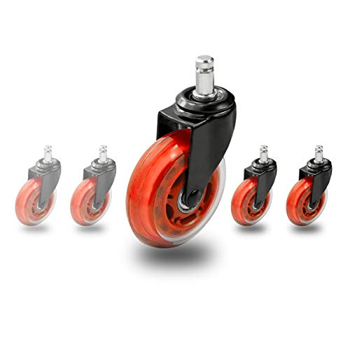 Toplimit 3-inch Office Chair Caster Wheels (Set of 5) Heavy Duty & Safe for All Floors Including Hardwood - Perfect Replacement for Desk Floor Mat - Rollerblade Style w/Universal Fit (3''_CN, Orange) by Toplimit