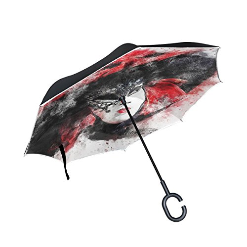 (DNOVING Double Layer Inverted Mask Carnival Venice Art Abstract Watercolor Umbrellas Reverse Folding Umbrella Windproof Uv Protection Big Straight Umbrella For Car Rain Outdoor With C-shaped Handle)