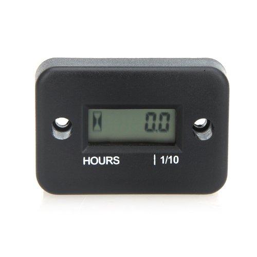 KKMOON 0.1/99999Hrs Grand écran LCD numérique Compteur horaire jauge appropriée pour moteur à essence comme Racing Moto, VTT, tondeuse, motoneige, etc (noir)