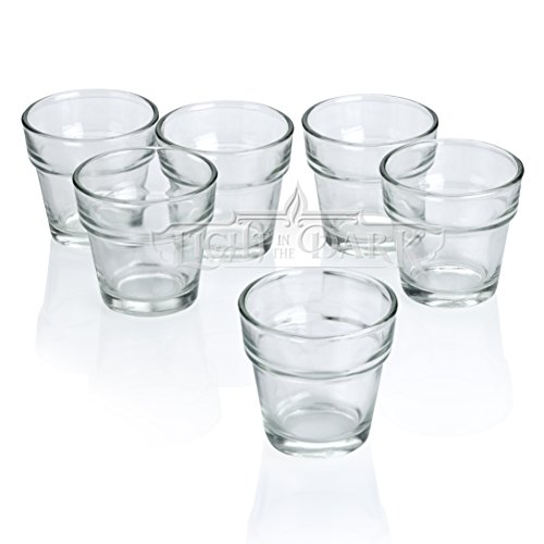 Light In The Dark Clear Glass Flower Pot Votive Candle Holders Set of 12 (Flower Pot Votive Candle)