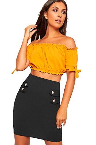 WearAll - Femmes lev Taille tendue Moulante Crayon Bouton Dtail Mini Jupe Dames Nouveau - 34-40 Noir