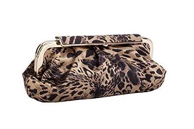 Tamaño grande diseño de estampado de leopardo Vintage bolso de mano de raso de estilo de Claudia Canova: Amazon.es: Zapatos y complementos