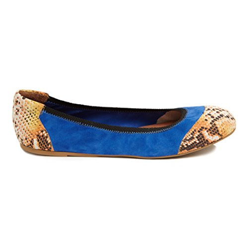 Cocorose Foldable Shoes - Chelsea Ladies Leather Ballet Pumps Blue & Orange J8EvfVDPB
