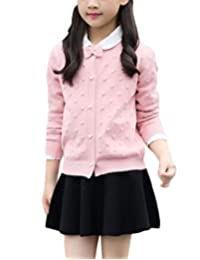 MFrannie Girls Round Collar Beading Bow Knot Knitted Sweater Cardigan