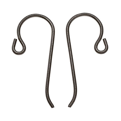 TierraCast Black Finish Earring Hooks, Hypo-Allergenic Niobium with Loop 21mm, 4 Pieces, Black