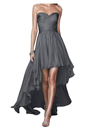 Gorgeous Bride Fashion Traegerlos Hi-Lo Chiffon Lang Abendkleider Festkleider Ballkleider Grau AcSsZqRF
