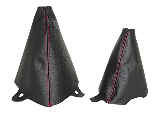 For Mini Cooper R50 R53 S-One 2001-2006 Automatic Shift & E Brake Boot Black Leather Red ()