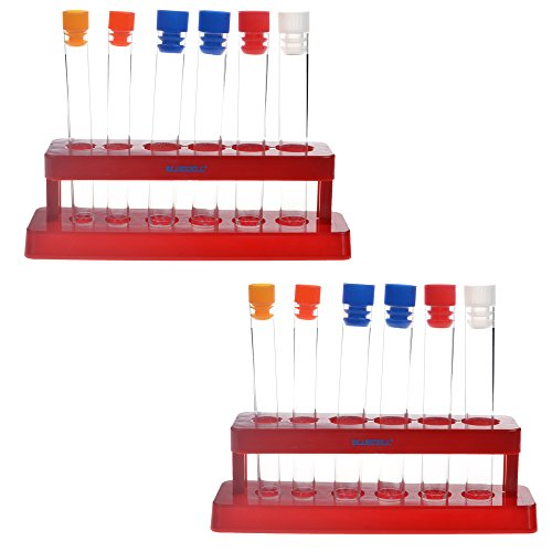 BCP 2 Pack Plastic Test Tube Set with Caps and Rack Scientific Experiment Toys for Children ()