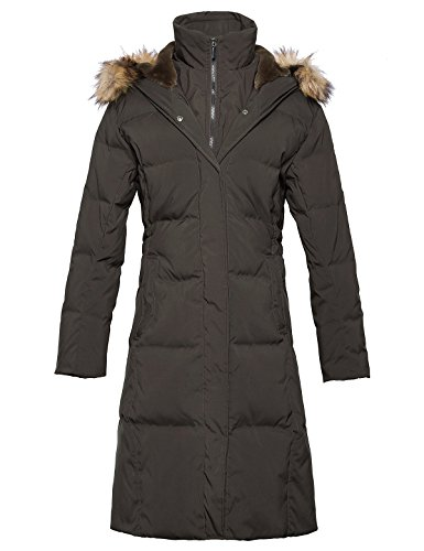 ADOMI Women's Long Hooded Thickened Down Coat with Fur Trim Coffee M - Fur Trim Long Hooded Coat