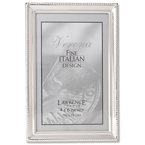 - Lawrence Frames Polished Silver Plate 4x6 Picture Frame - Bead Border Design