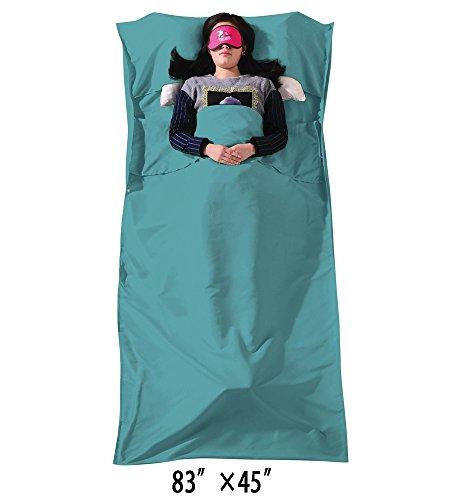 Campstoor Mountaineering MicroFiber Rectangle Sleeping Bag Liner (Glacial blue, (Fiber Rectangular Sleeping Bag)