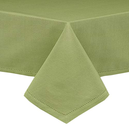 Traditional Rectangular Green - Lintex Classic Hemstitch Fabric Tablecloth - Easy Care Cotton Blend Tablecloths with Hemstitching and Mitered Corners - 60 Inch X 102 Inch Oblong/Rectangular, Sage Green