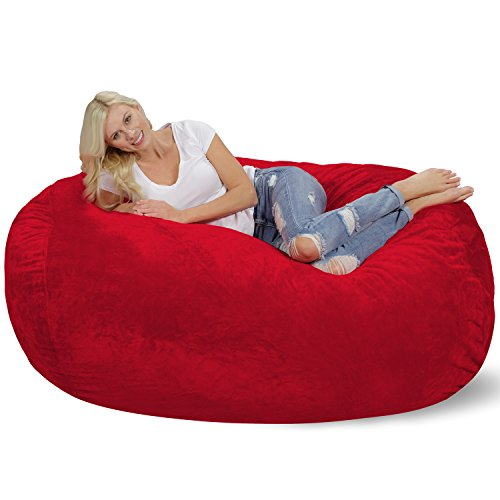 (Chill Sack Bean Bag Chair: Huge 6' Memory Foam Furniture Bag and Large Lounger - Big Sofa with Soft Micro Fiber Cover - Red Furry)