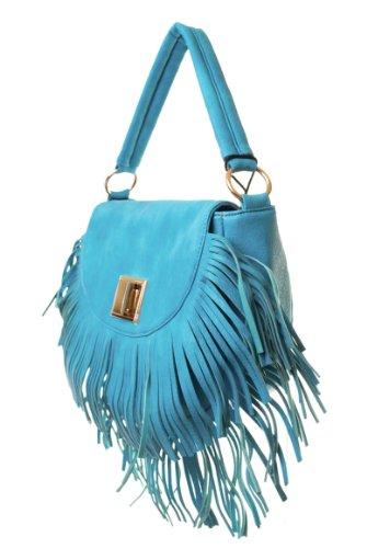 Hobo Lock Twist Handbag (L.COLETTE Flap Over Fringe Twist Lock with Shoulder Strap Hobo Bag KT2583 (Blue))