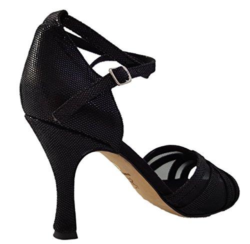Charles 398 Femme Chaussure Tango Danse Latine Standard Sauce Baisée Satin Sandale Noir Noir Net Talon 9 Fond De Buffle Élégant Artisanal Italien Produit Eu 37