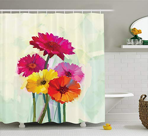 Ambesonne Gerber Daisy Shower Curtain, Posy of Spring Flowers Oil Painting Style Impressionist Still Life Art Theme, Cloth Fabric Bathroom Decor Set with Hooks, 70 Inches, Yellow Pink (Gerber Daisy Decor)