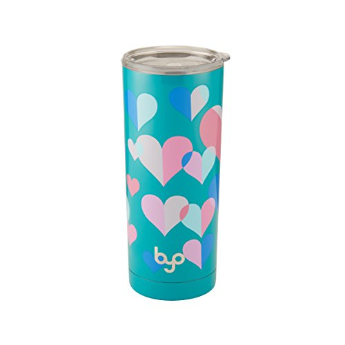 BYO 5202739 Double Wall Stainless Steel Vacuum Insulated Tumbler, 20-Ounce, Teal Hearts ()